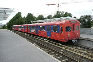 Oslo Metro - T1000 stock at Forskningsparken on the Sognsvann Line