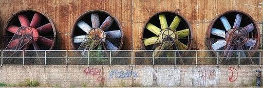 Four belt-driven ventilation fans