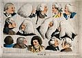 Fourteen heads showing different types of wigs. Coloured etc Wellcome V0019819.jpg
