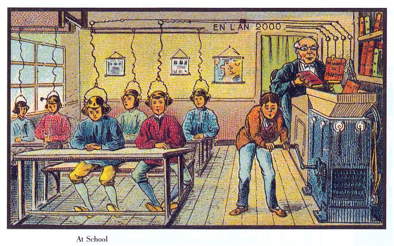 Class room of 2000, pictured in 1900. Brainwashing idea.