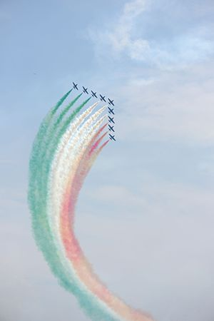The Frecce tricolori at the Air show Valtenesi del Garda