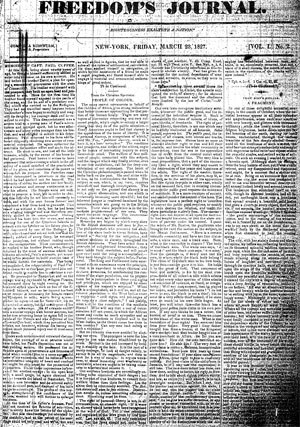 African-American newspapers - Freedom's Journal, considered the first African-American newspaper published within the United States