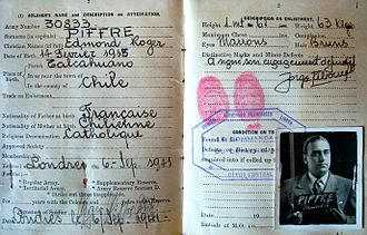 Free French Air Forces - Soldier's Service Book of a Chilean born Free French Air Force Pilot. One of many who joined the call made by General de Gaulle around French Colonies and South America.