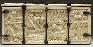 Casket with Scenes of Romances (Walters 71264) - Walters, back side, with Arthurian scenes