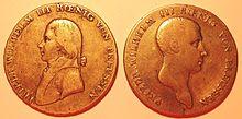 Friedr. Wilh. III. mit Zopf und mit Biedermeierfrisur (Quelle: Wikimedia)