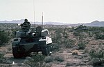 Front view of modified M551 crossing desert during National Training center exercise c1986 DA-ST-88-04061.jpg