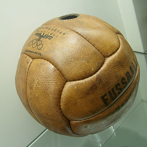 Football at the 1936 Summer Olympics - A ball of the competitions is on display at the German Leather Museum.
