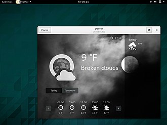 "GNOME - GNOME 3 has a modern approach in User Interface Design and naming applications. This screenshot shows ""GNOME Weather"" running on ""GNOME Shell"", both at version 3.14 (September 2014)"