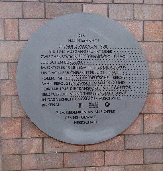 Datei:Gedenktafel Hauptbahnhof Chemnitz.jpg