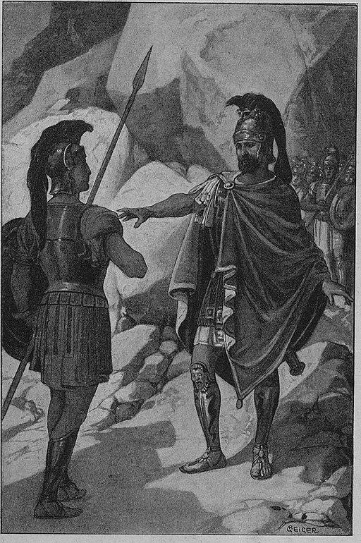 Geiger Richárd - görög népek 027 Leonidasz hírnököt küld Spártába hogy kitartanak