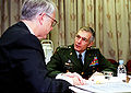 General Clark meeting with Asst Secretary of Defense Hamre, Dec 1998.jpg
