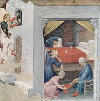 Dowry - The dowry for the three virgins (Gentile da Fabriano, c. 1425, Pinacoteca Vaticana, Rome), the St. Nicholas legend.