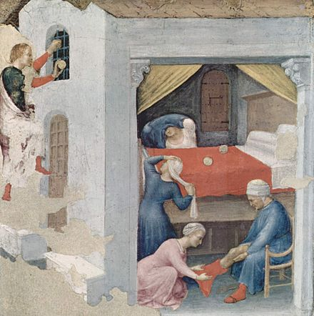 The dowry for the three virgins (Gentile da Fabriano, c. 1425, Pinacoteca Vaticana, Rome) Gentile da Fabriano 063.jpg