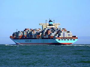 Georg Maersk p10, leaving Port of Rotterdam, Holland 04-Aug-2007.jpg