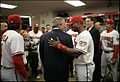 George W. Bush in Washington locker room at Nationals home opener 2005-04-14 1.jpg