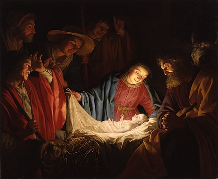 Adoration of the Shepherds (1622) by Gerard van Honthorst depicts the nativity of Jesus Gerard van Honthorst - Adoration of the Shepherds (1622).jpg