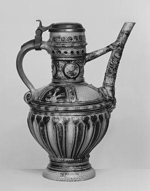 Bridge-spouted vessel - 16th-century German stoneware jug