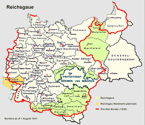 Reichsgau - Map of Nazi Germany with Reichsgaue highlighted.