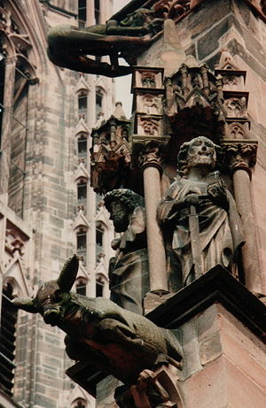 Freiburg Minster - Waterspouts and other statuary of Freiburg Minster