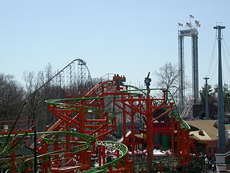 Scream (Six Flags) - Scream with Pandemonium in the foreground at Six Flags New England