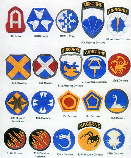 Shoulder patches were designed for units of the fictitious First United States Army Group under George Patton. Ghost Army.jpg