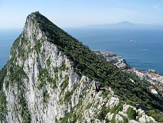 Outline of Gibraltar - View of North Africa across the Strait of Gibraltar as seen from The Rock.