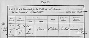 Alexander Gibson (industrialist) - Baptismal record for Alexander Gibson, August 6, 1820, with accompanying birth record. Courtesy All Saints Church, St. Andrews, NB