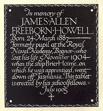 Eric Gill - A rubbing of a memorial bronze created by Eric and Max Gill in 1905.