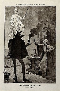 Gladstone as Faust making a pact with the devil Wellcome V0050333