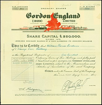 Gordon England (coachbuilder) - Share of the Gordon England (1929) Ltd., issued 28. March 1929