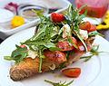 Gorgonzola chorizo rocket tomato open sandwich.jpg