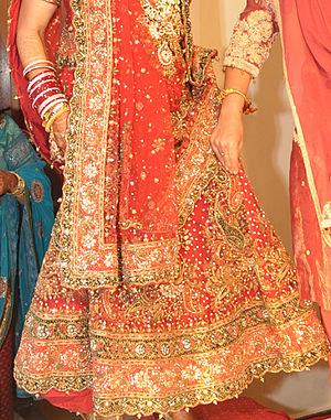 Gota (embroidery) - Bridal gagra with gota patti embroidery.