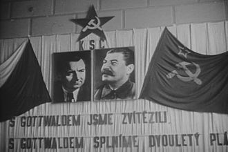 1948 Czechoslovak coup d'état - Portraits of Klement Gottwald and Joseph Stalin at a 1947 meeting of the Communist Party of Czechoslovakia