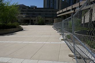 Government Service Center (Boston) - Fenced-off section of the courtyard