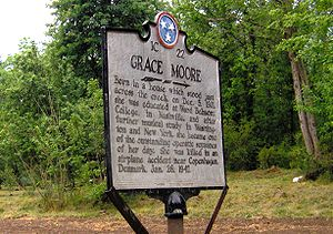 Grace Moore - Historical marker noting Moore's birthplace in Del Rio, Tennessee