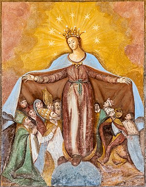 Fresco of Virgin-of-Mercy on the northern wall of the subsidiary church Saint Anna in Saager, Grafenstein, Carinthia, Austria