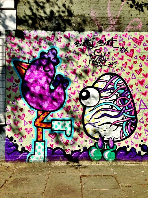 Graffiti in Shoreditch, London - Chicken and Egg by Binty Bint and Artista (9422247861)
