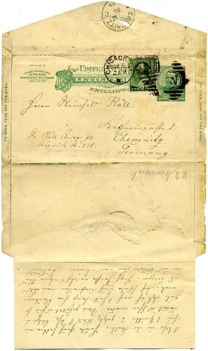 Letter sheet - An 1886 2¢ Grant letter sheet uprated by 2¢ and used to Germany, 1888.  Note how the letter and flaps were folded for mailing.  This example has the side flaps left since they did not get torn off upon opening.