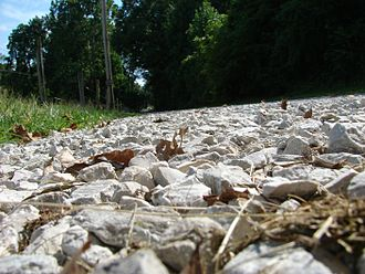 Gravel - A gravel road (technically crushed stone) in Terre Haute, Indiana