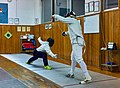 Greek Epee Fencers. Evening training at the facilities of Athenaikos Fencing Club with friends from other clubs. On the left Agapitos Papadimitriou.jpg