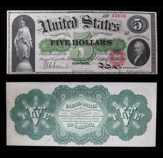 "Greenback Party - A $5 United States Note of the series of 1862 — popularly known as a ""greenback"" owing to the color of ink used on the reverse."