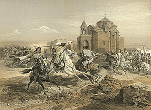 Vagharshapat - Kurds and Persians attacking Vagharshapat