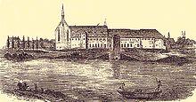Fürstenschule St. Augustin, Stich aus dem 17. Jahrhundert (Quelle: Wikimedia)