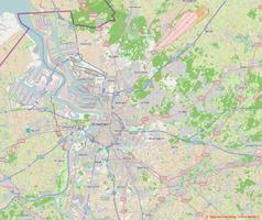 """Mapa konturowa Antwerpii, blisko centrum po lewej na dole znajduje się punkt z opisem """"Olympisch Stadion"""""""