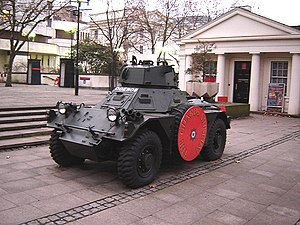 The Guards Museum - A Ferret armoured car on display outside the Guards Museum (January 2006).