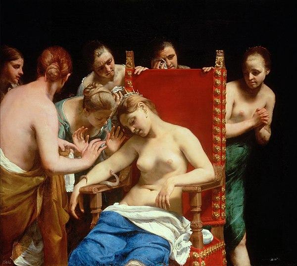 """""""Samobójstwo Kleopatry"""" Guidona Cagnacciego z 1658 roku (Wiedeń, Muzeum Historii Sztuki w Wiedniu)"""