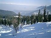 Utsikt over dagen ser ned fra en snøhvit rygg til en fjelldal langt nedenfor, tapt i tåke.  Fortsetter du langt inn til høyre, fortsetter en rekke høye snødekte fjell ryggen.  Fjellene er for det meste dekket av eviggrønn skog;  flekkete sollys treffer snødekket.