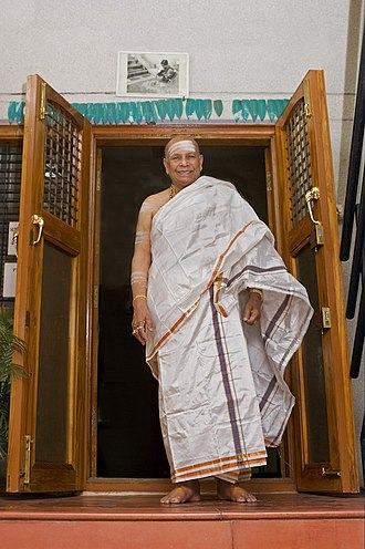 K. Pattabhi Jois - Sri K. Pattabhi Jois 2006 in entrance of KPJAYI in Mysore, India