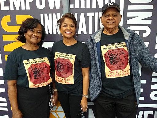 Guyana Philatelic Society members with British Guiana 1c magenta t-shirts (2)