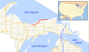 H-58 runs along the southern shore of Lake Superior in Michigan's Upper Peninsula